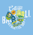 grunge baseball kids team league college champs vector image vector image