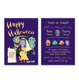 halloween party invitation with funny zombies vector image vector image