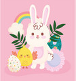 happy easter cute rabbit and chicken egg flower vector image