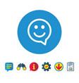 happy face speech bubble symbol smile icon vector image vector image
