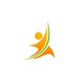 happy man fitness sport logo vector image vector image