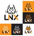 head lynx and inscription symbol vector image vector image