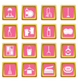 house cleaning icons pink vector image vector image