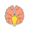human brain in lightbulb idea concept flat icon vector image