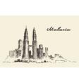 Kuala Lumpur skyline Malaysia drawn vector image vector image