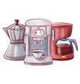 moka pot and coffee making machine set vector image vector image