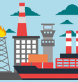 oil industry refinery production tanker ship vector image