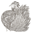 peacock vintage fantasy bird with ornament vector image