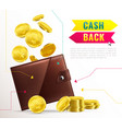 realistic wallet poster vector image vector image