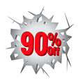 Sale 90 percent on Hole cracked white wall vector image vector image