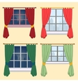 Set of curtains on a yellow background vector image vector image