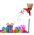 snowman in a red Santa Hat with a broom vector image vector image