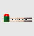 sushi bar food logo template fresh roll vector image