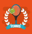 tennis racket and ball wreath banner vector image vector image