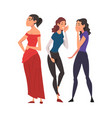 two girl friends gossiping and giggling behind vector image vector image