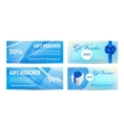 Voucher template with wavy background and blue bow vector image