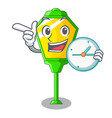 with clock lamp post in isolated on mascot vector image vector image