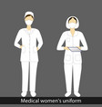 womens in medical suit and mask in various design vector image vector image