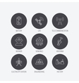Worker minerals and engineering helm icons vector image vector image