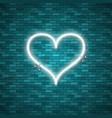bright heart retro blue neon heart sign vector image