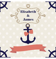 Wedding nautical invitation card with anchor on po vector image