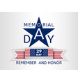 memorial day with a blue star and ribbon usa flag vector image