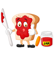 Cartoon slice of bread with jam giving thumbs up vector image