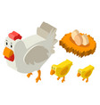 3d design for chickens and eggs vector image vector image