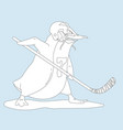 aggressive penguin hockey player coloring page vector image vector image