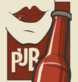 banner for pub with bottle of beer and human mouth vector image vector image