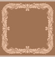 beige filigree ornamental frame on brown vector image