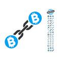 bitcoin blockchain icon with bonus pictograms vector image vector image