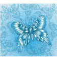 Bright Blue butterfly and decorative grungy vector image vector image
