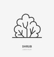 bush flat line icon thin sign of park vector image vector image
