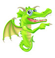 cartoon dragon peeking round sign vector image