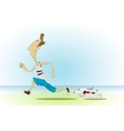 Cartoon man running with his little dog vector image vector image