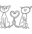 cats in love cartoon coloring page vector image