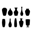ceramic vases collection black silhouette vector image vector image