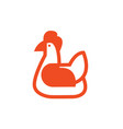chicken sketch icon linear flat style vector image