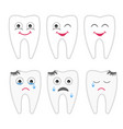 childrens drawing of a smiling healthy tooth and vector image