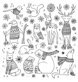 Christmas animals set vector image vector image