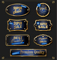 collection of elegant blue and gold badges vector image