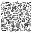 craft beer hand drawn elements set vector image vector image
