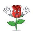 crazy red rose mascot cartoon vector image vector image