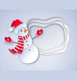 cut paper art style of snowman vector image