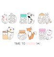 cute baby animal with candy cartoon hand drawn vector image vector image