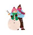 cute happy girl hugging xmas snowman funny vector image vector image