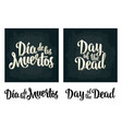 day of the dead vintage white lettering on vector image