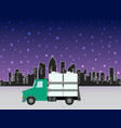 delivery truck on the vector image vector image
