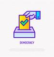 democracy thin line icon hand puts ballot vector image